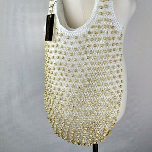 Handbags - Crochet Netted Beaded Handbag NWT